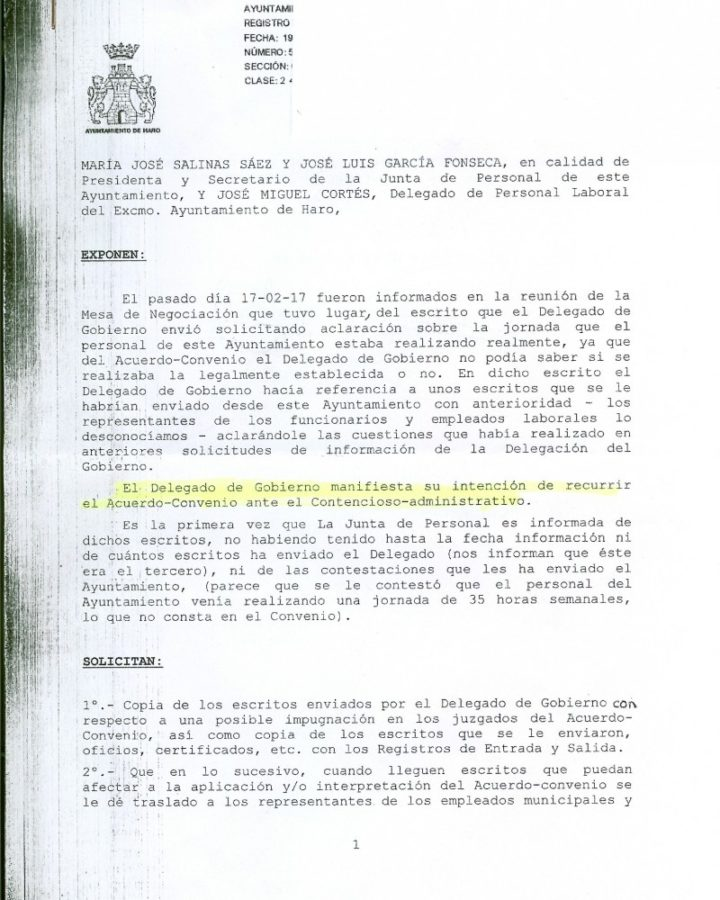 Documento Junta de Personal