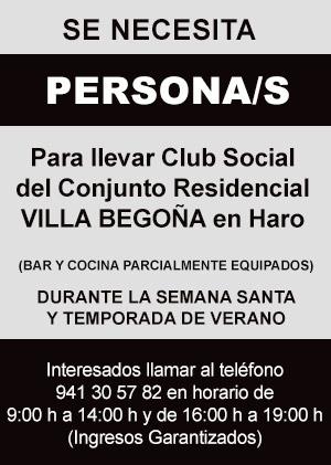 Se necesita personal para llevar el Club Social del Conjunto Residencial VILLA BEGOÑA en Haro